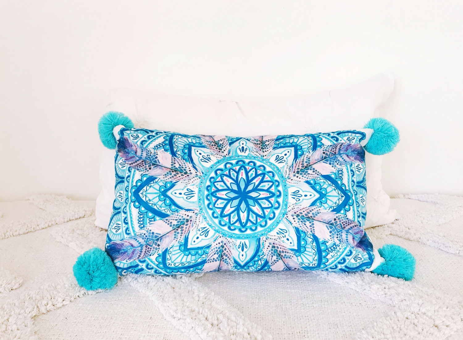 Lisa Pollock pom pom cushion, teal