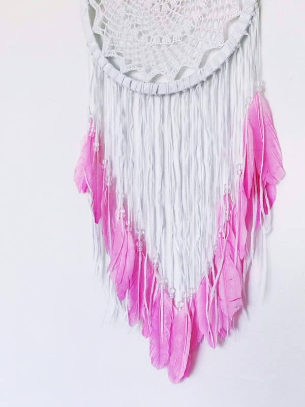 pink feather dreamcatcher